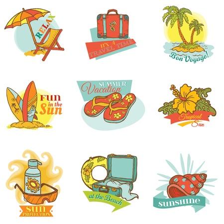 Set of Vintage Summer Labels - for design or scrapbook Vector