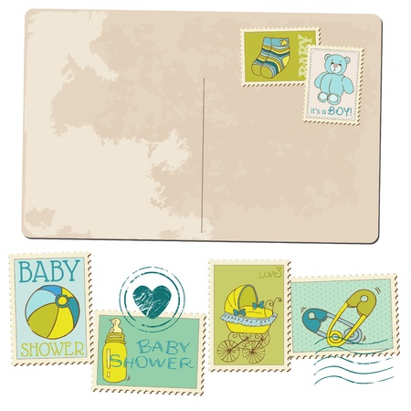 Vintage Baby Boy Arrival Postcard - for design or scrapbook Vector