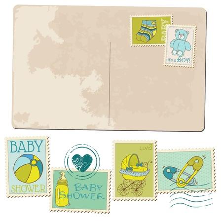 Vintage Baby Boy Arrival Postcard - for design or scrapbook Illustration