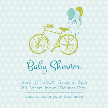 Baby Boy Shower or Arrival Card with place for your text Vector