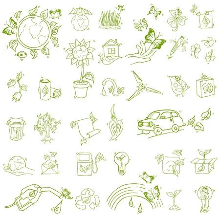 �cologie: Ecologie et recycler les ic�nes - dessin�s � la main
