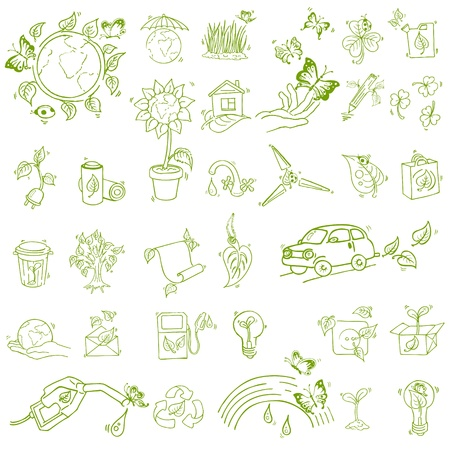 Ecology and recycle icons - hand drawn Vector