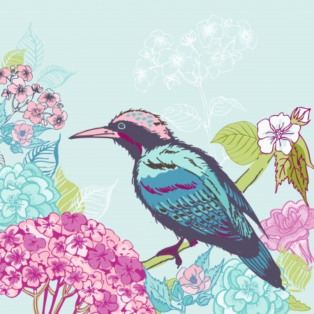 Bird with Flowers Background - for design and scrapbook  Vector