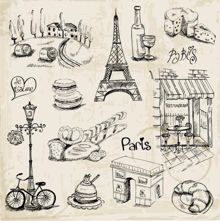 frans: Paris Illustratie Set - voor het ontwerp en scrapbook Stock Illustratie