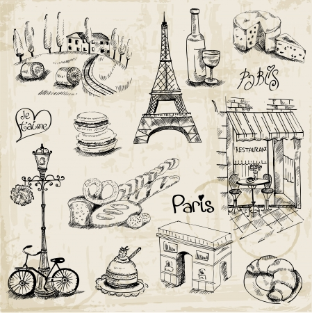 Paris Illustration Set - for design and scrapbook Vetores
