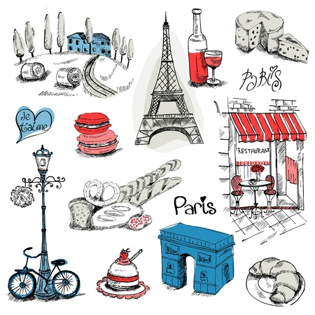 パリ イラスト セット - デザインのスクラップ ブック - ベクトル  イラスト・ベクター素材