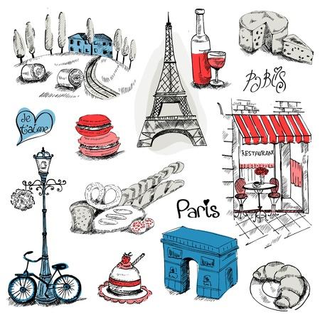 pasteleria francesa: París Ilustración Set - para el diseño y libro de recuerdos - en el vector