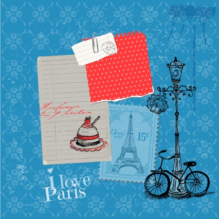 bycicle: Scrapbook Design Elements - Paris Vintage Card with Stamps - in vector