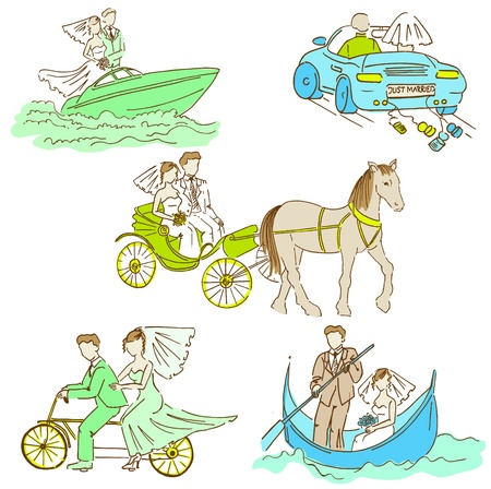 Bride and Groom - Wedding Doodle Set - Design Elements for Scrapbook Stock Vector - 20237093