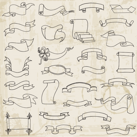 curled: Hand drawn Ribbon Banners - for decoration, scrapbook and design  Illustration