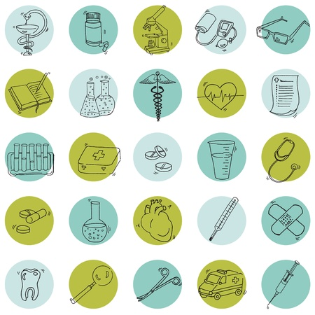 medical instrument: Medical Icons - hand drawn