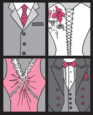 Wedding Invitation Card - Bride and Groom Cards  Illustration