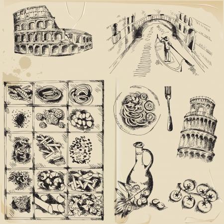 venice italy: Scrapbook Design Elements - hand drawn Italy set   Illustration