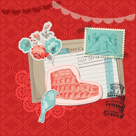 Scrapbook Design Elements - Italy Vintage Card with Stamps  Stock Vector - 20237085