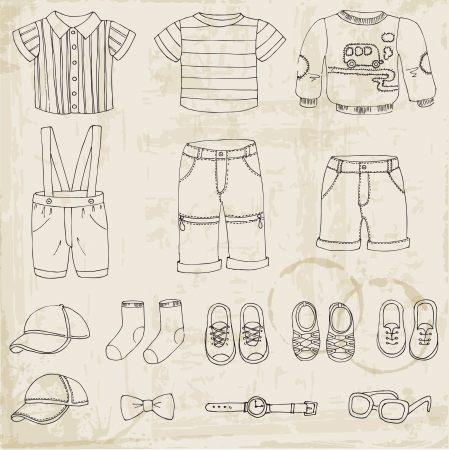 baby clothes: Baby Boy Set - for design and scrapbook