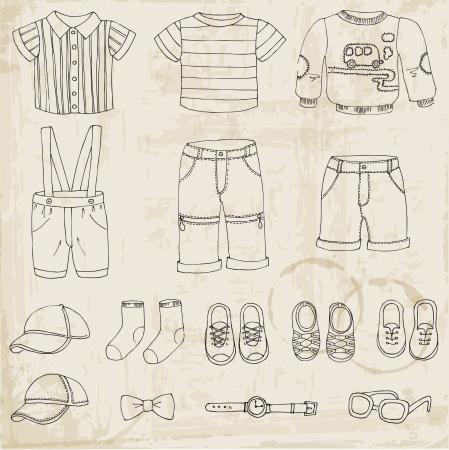 etiquetas de ropa: Bebé Set Boy - para el diseño y libro de recuerdos Vectores