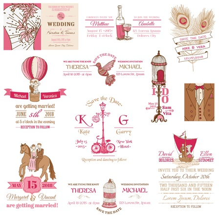 wedding invitation: Wedding Vintage Invitation Collection - for design, scrapbook