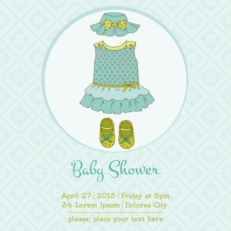 Baby Girl Shower or Arrival Card with Place for your text in vector Stock Vector - 20912926