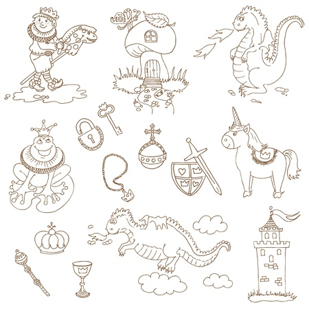 baby dragon: Prince Boy Set - for design and scrapbook - in vector Illustration