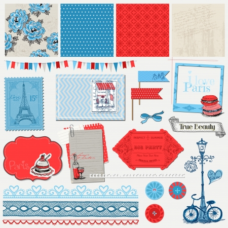 Scrapbook Design Elements - Paris Vintage Set - in vector Stock Vector - 20912955