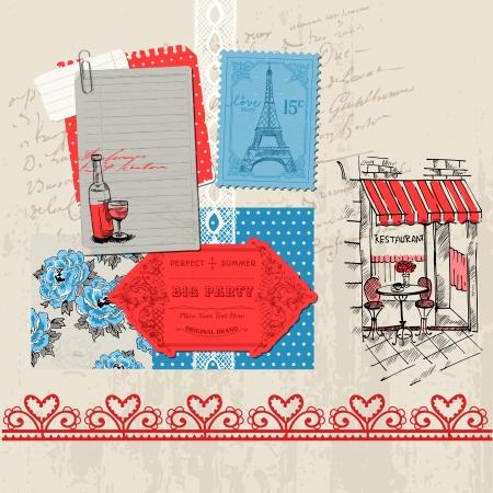 french cafe: Scrapbook Design Elements - Paris Vintage Set - in vector Illustration