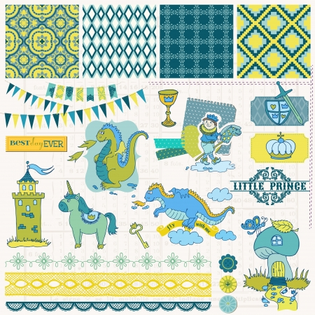 baby announcement: Scrapbook Design Elements - Little Prince Boy Set - in vector