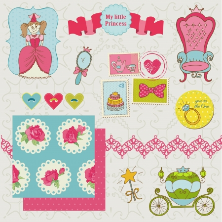 Princess Girl Set - for design and scrapbook - in vector Vector