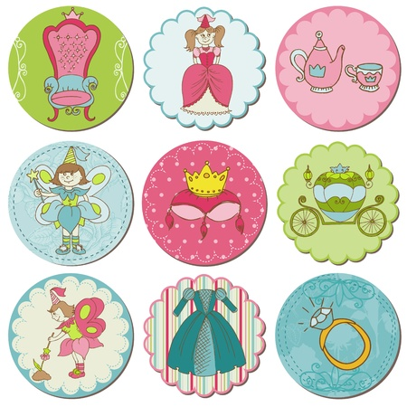 Scrapbook Design Elements - Tags with Princess Elements in vector Vector