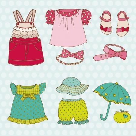 etiquetas de ropa: Baby Girl Set - para el diseño y libro de recuerdos - en el vector
