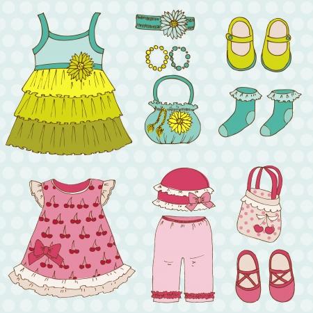 etiquetas de ropa: Baby Girl Set - para el dise�o y libro de recuerdos - en el vector