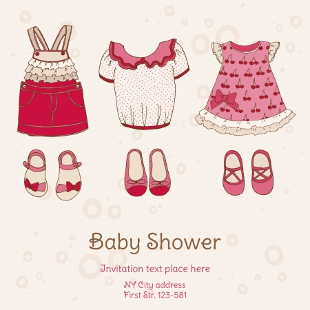 baby shoes: Baby Shower Card with Dresses - with place for your text - in vector