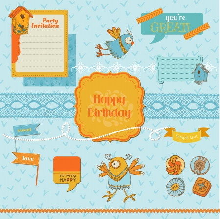 Scrapbook Design Elements - Ñute Birds - in vector Vector