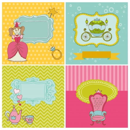 Princess Girl Card Set - for design and scrapbook - with place for your text - in vector Vector
