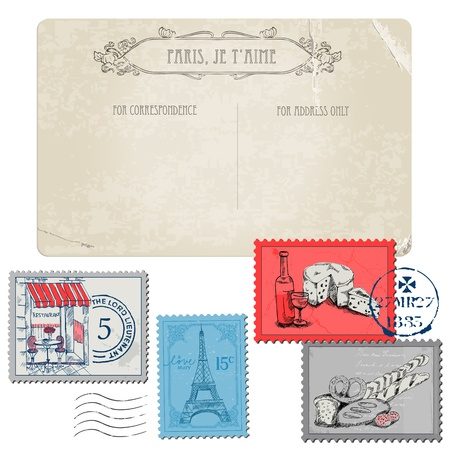 Vintage Postcard with Set of Stamps - Vintage Paris and France  Vector