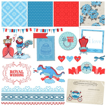 Scrapbook Design Elements -Princess and Prince Wedding Vintage Set Vector