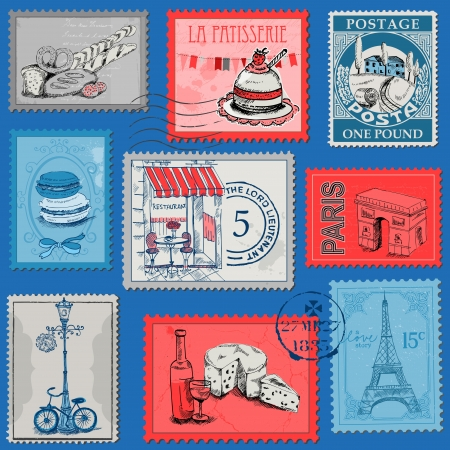 Set of Stamps - Vintage Paris and France - for design and scrapbook  Vector