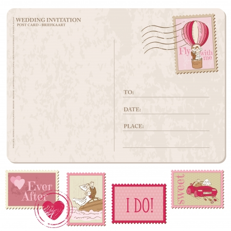 Wedding Invitation - Vintage Postcard with Postage Stamps - for design and scrapbook  Vector
