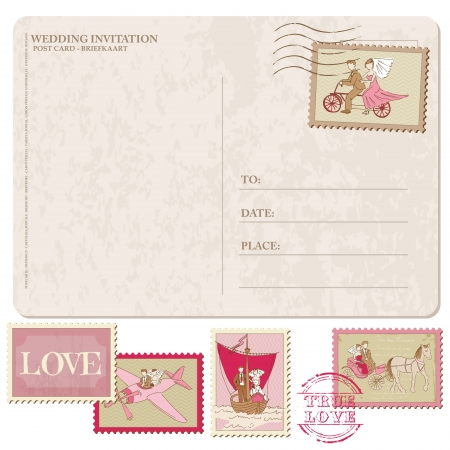 wedding invitation: Wedding Invitation - Vintage Postcard with Postage Stamps - for design and scrapbook