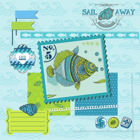 Scrapbook Design Element - Tropical Fish and Sea Horse Theme Vector