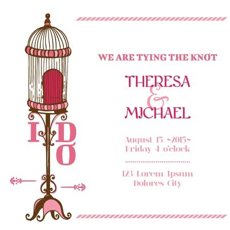 Wedding Vintage Invitation Card - Bird Cage Theme - for design, scrapbook