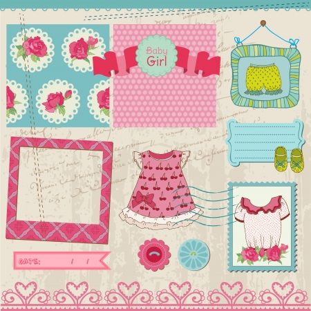Scrapbook Design Elements - Baby Girl Set Vector