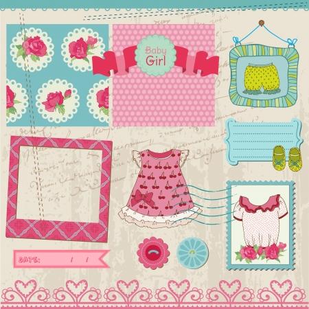 baby shoes: Scrapbook Design Elements - Baby Girl Set