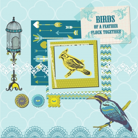 Scrapbook Design Elements - Vintage Birds Set - for design and scrapbook  Stock Vector - 21636401