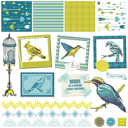 Scrapbook Design Elements - Vintage Birds Set - for design and scrapbook  Vector