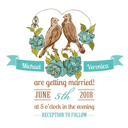 caligraphic: Wedding Vintage Invitation Card - Birds and Flowers Theme