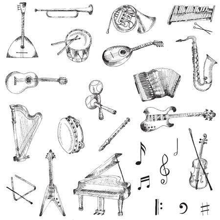 pandero: Conjunto de Instrumentos Musicales Vectores