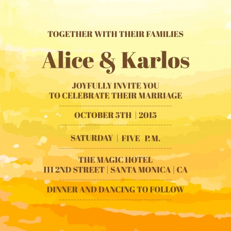 ombre: Wedding Vintage Invitation Card - Watercolor Ombre Theme