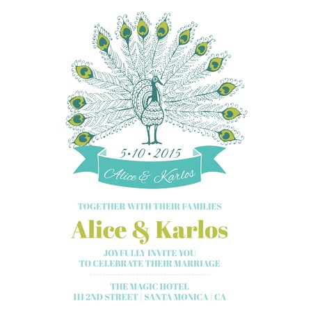 Wedding Vintage Invitation - Peacock Theme - for design, scrapbook  Vector