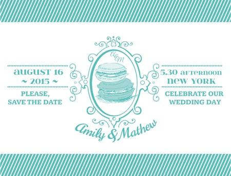 Wedding Vintage Invitation - Macaroon Theme - for design, scrapbook Vector