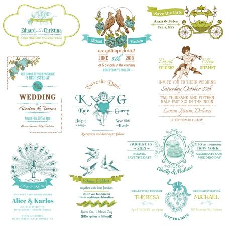 caligraphic: Wedding Vintage Invitation Collection - for design, scrapbook  Illustration